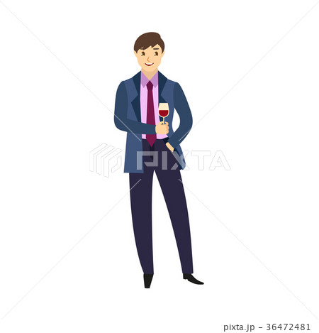 vector flat office worker man dancing at party 36472481