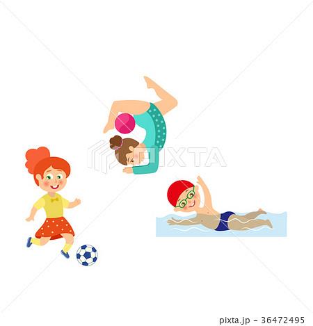 vector flat kids doing sports set 36472495