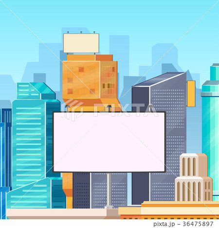 high buildings and billboards advertising templateのイラスト素材