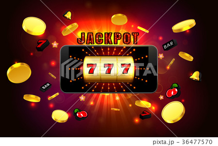 jackpot lucky wins slot machine on mobile phone  36477570