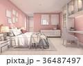 3d rendering beautiful pink vintage kid bedroom 36487497
