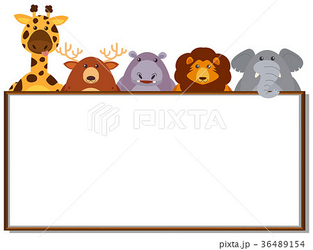 border template with wild animalsのイラスト素材 36489154 pixta