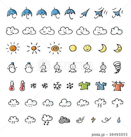手書きの天気予報アイコンセットのイラスト素材