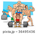 athletes at the gym cartoon illustration 36495436