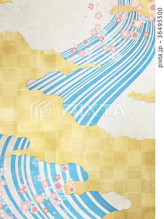 和を感じる背景素材(金箔、雲、流線、紅葉) 36495500