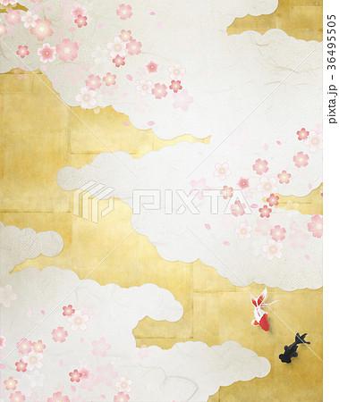 和を感じる背景素材(金箔、雲、さくら、金魚) 36495505