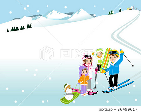 家族でスキーのイラスト素材 36499617 Pixta
