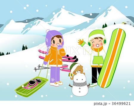 楽しい雪遊びのイラスト素材 36499621 Pixta