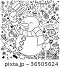 ゆきだるま スノーマン 雪だるまのイラスト 36505624