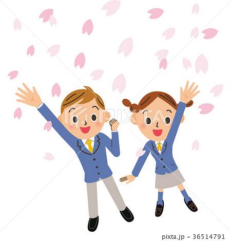 桜と学生 36514791