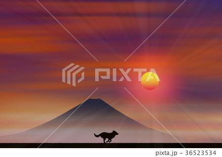 富士山と犬 36523534