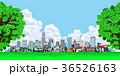 町並み 町 入道雲 樹木 36526163
