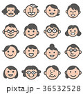 顔アイコン三世代3家族18人セット_カラー 36532528