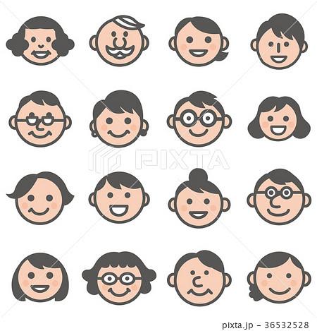 顔アイコン三世代3家族18人セットカラーのイラスト素材 36532528 Pixta