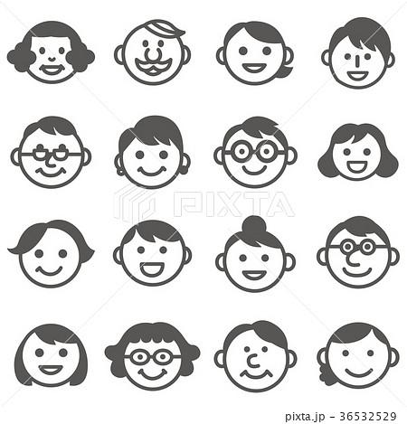 顔アイコン三世代3家族18人セット_モノクロ 36532529