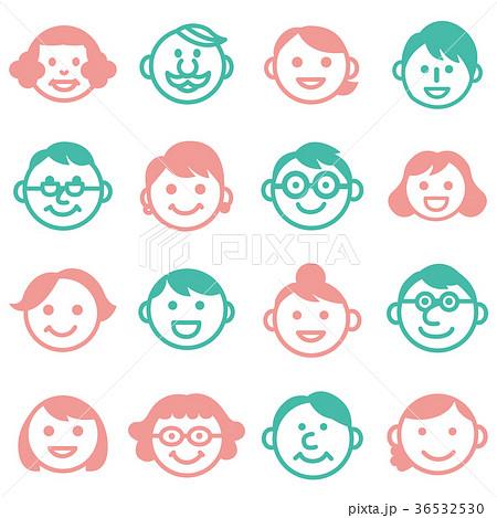 顔アイコン三世代3家族18人セット_男女カラー 36532530