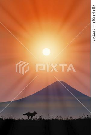 富士山と犬に朝日 36534387