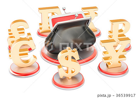 Currency symbols around the purse, 3D rendering 36539917