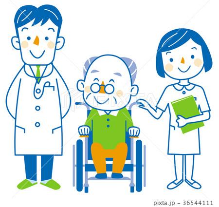 介護  お爺さんと医者と看護士 36544111