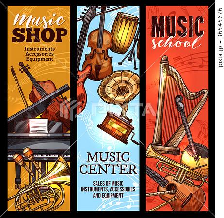 Musical instrument banner of classical, folk music 36545676
