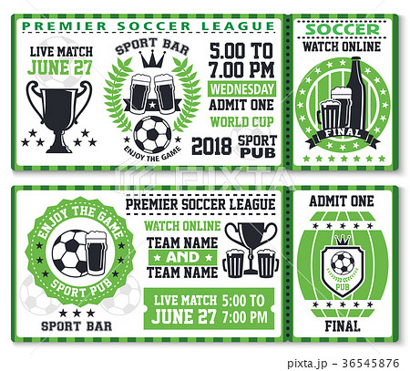 soccer or football sport game ticket templateのイラスト素材