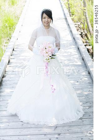 ブーケを持ち微笑む花嫁 36546255