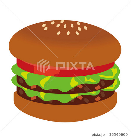 ハンバーガーのイラスト、2段重ねのハンバーガー、カロリー過多、ベクタデータ 36549609