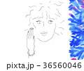 女性と青い花の風景 36560046