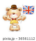 Cute Teddy bear with the  UK flag in the hat.  36561112