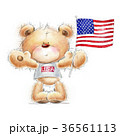 Cute Teddy bear with the  USA flag. 36561113