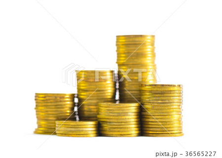 Columns of gold coins, piles of coins on whiteの写真素材 [36565227] - PIXTA