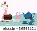 チョコレートケーキ。テーブルセット。チョコレートとティーポット。 36568121
