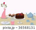 チョコレートケーキ。テーブルセット。チョコレートとティーポット。 36568131