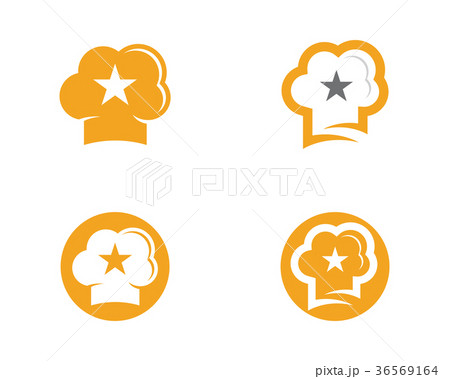 hat chef with star logo templateのイラスト素材 36569164 pixta