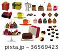 バレンタインのセット。コーヒータイム素材。チョコレート菓子の素材。 36569423
