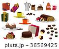 バレンタインのセット。コーヒータイム素材。チョコレート菓子の素材。 36569425