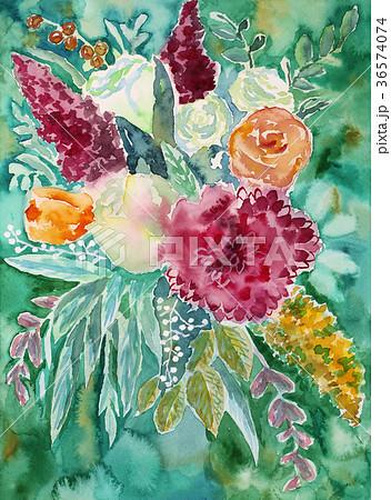 水彩で手描きの花束オレンジバラ白い薔薇赤いダリア黄色ケイトウ葉っぱ 36574074