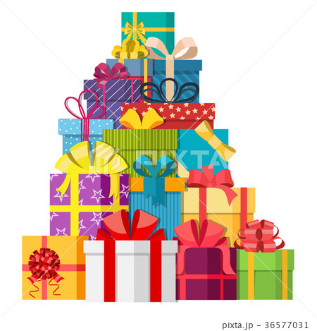 Big pile of colorful wrapped gift boxes. 36577031