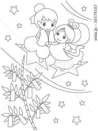 七夕ぬりえのイラスト素材 36579107 Pixta