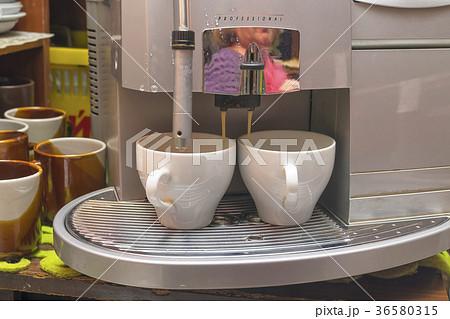 Making coffee cappuccino coffee machineの写真素材 [36580315] - PIXTA