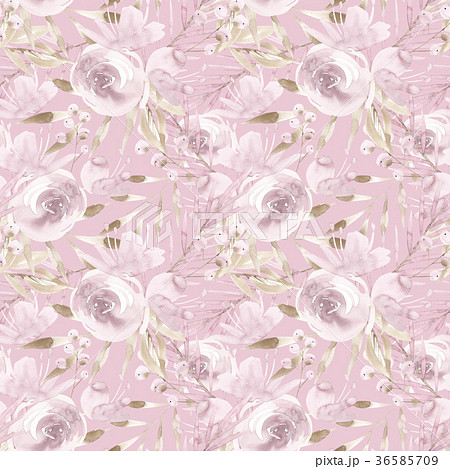 Pale pink roses and peonies with gray leaves on 36585709