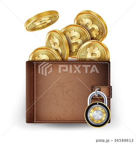Realistic Bitcoin Wallet Vector. Locked With 36589613