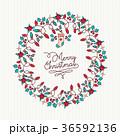 クリスマス メリー・クリスマス リースのイラスト 36592136