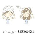 女性 シャンプー 洗髪のイラスト 36598421