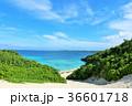 沖縄県宮古島 青空と青い海の砂山ビーチ 36601718