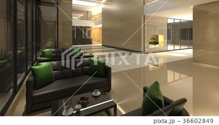 Charming 3D Illustration The Modern Office Interior Design