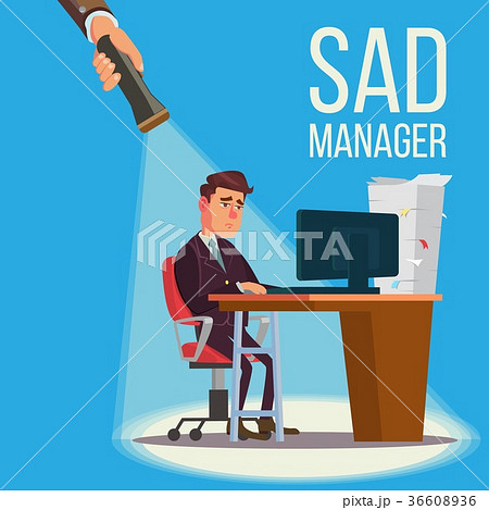 Sad Manager, Businessman Vector. Sitting At The 36608936