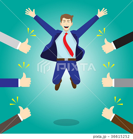 happy jumping businessman thumbs up from othersのイラスト素材
