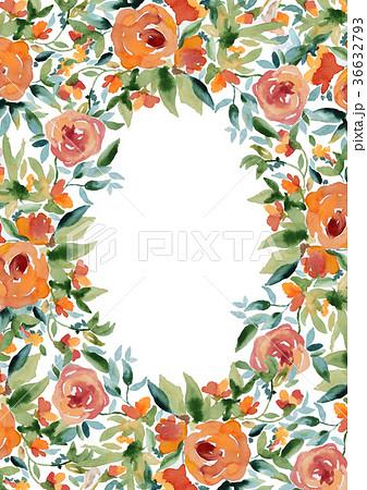 水彩フレーム水彩薔薇手描きポスターお花オレンジ色ローズ 36632793