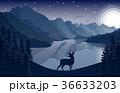 鹿 鳥 動物のイラスト 36633203